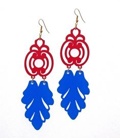 Baronyka Florentine Earrings - Red & Blue Earrings  These unique design laser-cut earrings are made from blue and red acrylic,they hang on NICKEL FREE Gunmetal plated over brass earwires and measure 4.3 inches tall by 1.18 inches wide.  These earrings make a bold statement, yet are surprisingly lightweight and easy to wear.  All of my jewelry comes with a gift box.  $36.9