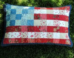 Hideaway Girl: American Flag Pillow  Rural Jardin French General 2.5 inch squares
