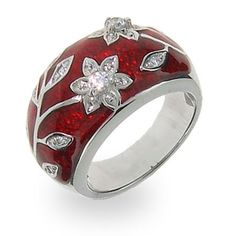 Ruby Red Enamel Ring with Vintage CZ Flower Design: Jewelry: Amazon.com