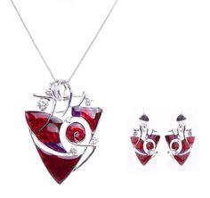 Эмаль ожерелья Высокое Качество Треугольник Эмаль Колье Ожерелья и серьги комплект Ювелирных Изделий WholesaleNS16654 купить на AliExpress