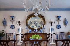 Betty Sherrill's Blue & White Dining Room in her Southhampton summer home.