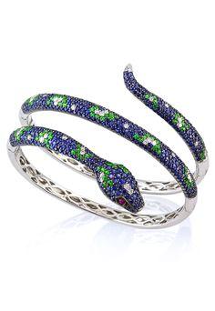 Effy Jewelry Jardin Multi Sapphire & Diamond Snake Bangle, 10.85 ...