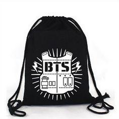 Elfun(TM) KPOP BTS Bangtan Boy Backpack BTS Casual Shoulder Bag String... ($13) ❤ liked on Polyvore featuring bags, backpack shoulder bag, knapsack bag, sports shoulder bag, string backpack and backpack bags