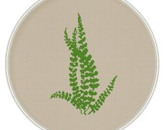 Green leaves cross stitch pattern, Instant Download, Free shipping, Cross-Stitch PDF, Fern cross stitch pattern