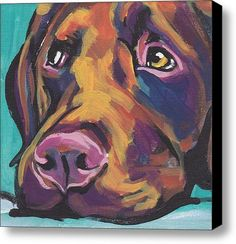 Choco Lab Love Stretched Canvas Print / Canvas Art By Lea
