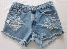 shredded & cut off denim shorts Size Small-Medium by AuthenticRaJ