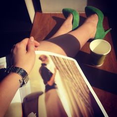 Work morning green shoes hills McDonald's latte coffee  magazine