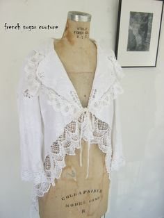 French Sugar Couture 2015 SPRING/SUMMER COLLECTION Cool Summer White Cotton Embroidered Lagenlook Jacket - Altered Couture by frenchsugarcouture on Etsy