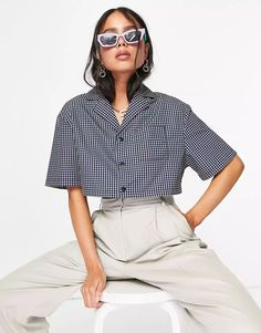 COLLUSION boxy shirt & short in pastel wash | ASOS Jade, Shirt Outfit, Korean Fashion, Latest Trends, Asos, Mini Skirts, Crop Tops, Clothes For Women, Shirts