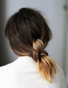 This undone update on a low pony is so cool and simple — and really enhances the variations in color with ombre hair. Make a ponytail at the nape of the neck, then twirl it in a knot and secure with bobby pins. (Learn more about how to DIY this look at Love Shop Share.) Image: Pinterest via Love Shop Share