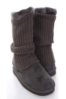 Grey Faux Suede Knitted Sleeve Casual Ankle Boots
