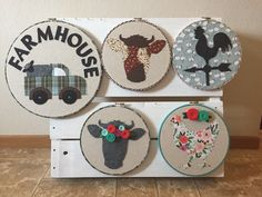Farmhouse hoop art. Pink Freckles.