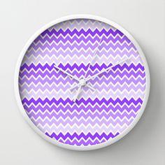 Purple Ombre Chevron Wall Clock for girls room decor #decampstudios