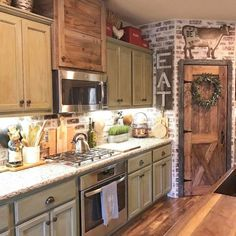 Cool 46 Best Rustic Farmhouse Kitchen Cabinet Makeover Ideas https://homefulies.com/index.php/2018/06/23/46-best-rustic-farmhouse-kitchen-cabinet-makeover-ideas/