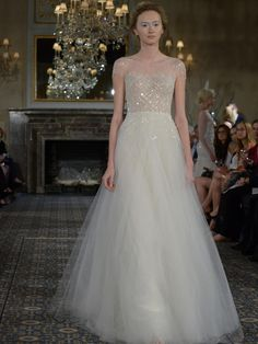 Mira Zwillinger A-line wedding dress with illusion neckline and sequin bodice from Spring 2016