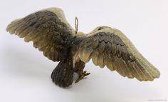 §§§ : Dresden molded cardboard, glass-eyed eagle ornament ca.1900