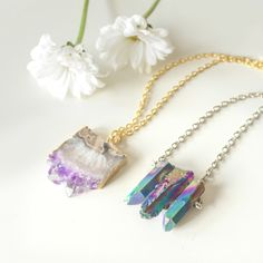 Triple Rainbow Healing Crystal Necklace -Quartz-Silver Chain- Vintage Boho -Galaxy Natural Titanium Quartz Jewellery- Bohemian Stone Jewelry