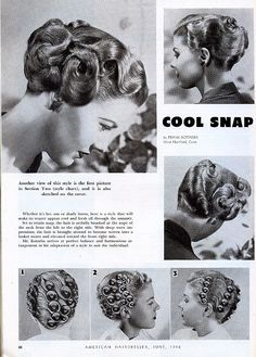 Forties Fashions: Vintage Haircuts & Hairstyles for Short Hair Forties Fashions: Vintage Haircuts & Vintage Haircuts, Vintage Hairstyles Tutorial, 1940s Hairstyles, Hairstyles Haircuts, Trendy Hairstyles, Hairstyles Videos, Everyday Hairstyles, Ponytail Hairstyles, Hairdos