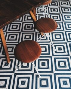 I love this fun, funky, yet classic black and white tile pattern for #floors! What a great way to modernize your home. #floorsareus