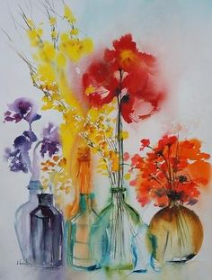 Collection of flowers? Loose watercolours in vibrant colours. 'Fragrance En Bouteilles', Olivia Quintin.