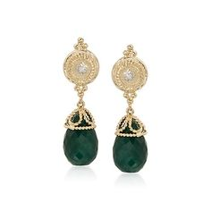 24.00 ct. t.w. Emerald Earrings With Diamond Accents in 14kt Yellow Gold    #299381 @ ross-simons.com