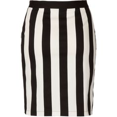 TOPSHOP White Stripe Pencil Skirt ($64) ❤ liked on Polyvore