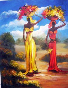 People 3 by Regina Schwingel African Artwork, African Art Paintings, African American Art, African Women, Afrique Art, African Dance, Butterfly Painting, Dance Art, Beautiful Paintings