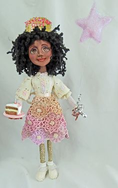 Birthday Girl.  More recycled tablecloth motifs, eyelet, wig and soda can for headpiece