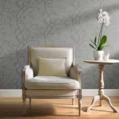 Grandeco Marino Floral Leaf Pattern Tree Metallic Wallpaper A10111