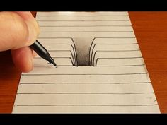 Trick Art on Line Paper - Drawing Hole Drawings On Lined Paper, 3d Pencil Drawings, 3d Art Drawing, Drawing Skills, Hole Drawing, Illusion Drawings, Illusion Art, 3d Drawing Techniques, Art Drawings Beautiful