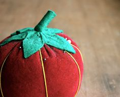 Perfectly Ripe  Vintage Velvet Red Tomato Pin Cushion  by becaruns on Etsy.
