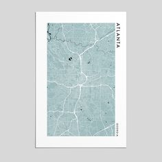 Printed on museum-quality, acid-free matte paper. Atlanta City, Atlanta Georgia, Cartography, Best Cities, Fashion Prints, Art Museum, Map, Deco, Printed