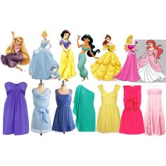 Disney Princess Inspired Dresses which i LOVE the little pink cuz of Ariel but jasmine's is really cute too :)