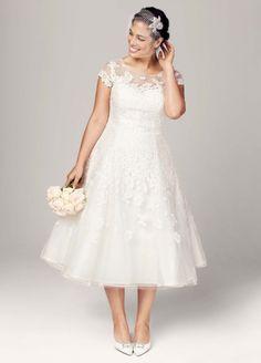 This tea length illusion neckline wedding dress is stunning and under $800!