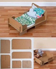 Cama de juguete reciclando cartón-I can't understand the instructions, but the pictures do a great job! Cardboard Dollhouse, Cardboard Toys, Diy Dollhouse, Crafts With Cardboard, Cardboard Kitchen, Dollhouse Miniatures, Diy Cardboard Furniture, Barbie Furniture, Dollhouse Furniture
