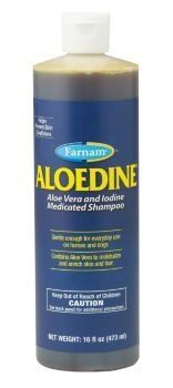 Farnam Aloedine by Farnam. $11.75. Aloedine(R) Shampoo Combines aloe vera with 0.5% iodine Regular use will help reduce the risk of painful, hard-to-heal skin conditions Develops a rich lather that penetrates deep and cleanses contaminated areas Approved for use on horses and dogs Available in 16 oz. DIRECTIONS: Wet animal with warm water. Apply one to two ounces of Aloedine to the entire body. Work into a rich lather and rinse. If irritation occurs, discontinue use and con...