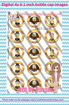 1' Bottle caps (4x6) Digital minion thanksgiving    PLEASE VISIT http://craftinheavenboutique.com/AND USE COUPON CODE thankyou25 FOR 25% OFF YOUR FIRST ORDER OVER $10! #bottlecap #BCI #shrinkydinkimages #bowcenters #hairbows #bowmaking #ironon #printables #printyourself #digitaltransfer #doityourself #transfer #ribbongraphics #ribbon #shirtprint #tshirt #digitalart #diy #digital #graphicdesign please purchase via link http://craftinheavenboutique.com