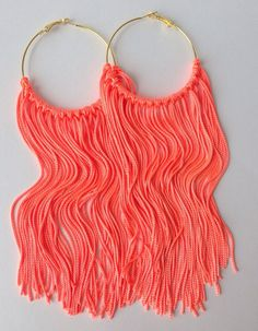 Neon Jewelry Earrings Fringe Hoops by MYCACouture on Etsy, $29.99