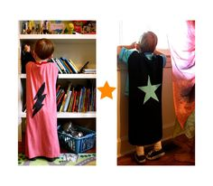Super Hero Cape And Power Cuff Tutorial.  could make these for boys' superhero birthday party as favors with thrifted/old tees?