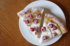 Raspberry lemon dessert pizza (=)