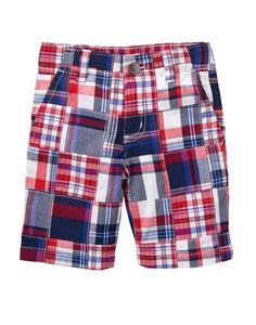 NWT Gymboree Boys RED WHITE & CUTE Poplin Patchwork Shorts Prep Fit 5 6 8 #Gymboree #Everyday