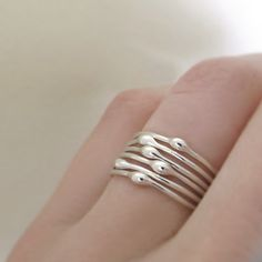 Stacking Ring Set in Sterling Silver- Rain - Set of Six - Droplet Rings Mais
