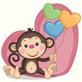 Greeting card Monkey and balloons Monkey Drawing, Monkey Art, Cute Cartoon Wallpapers, Cartoon Pics, Animal Drawings, Cute Drawings, Kids Cartoon Characters, Monkey Crafts, Cartoon Monkey