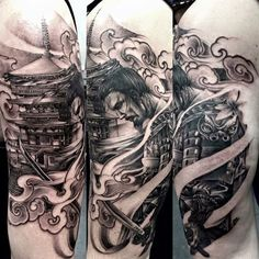 Never regret something that once made you happy. Tattoo by BB Gun #samurai #pagoda #asainstyle #shading #tattooconvention #germany #berlintattooconvention2016