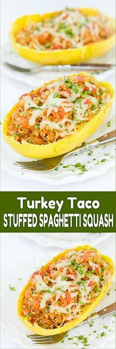 Stuffed spaghetti squash recipes are fantastic for easy weeknight meals. Stuffed with a turkey taco filling. 359 calories and 6 Weight Watchers SmartPoints