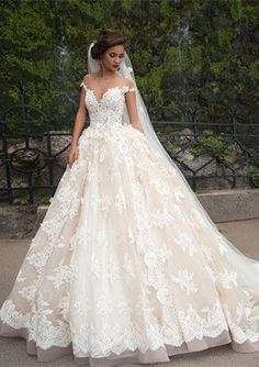 2017 amelia sposa Lace Applique Princess Wedding Dresses berta Champagne  Dubai Arabic Off-shoulder A-line overskirt Wedding Gown Milla Nova 360f2b80329