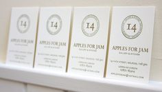 Foiled business cards on keaykolour biscuit paper arjowiggins apples for jam business cards letterpress printed on saunders waterford 140lb hot press high white colourmoves