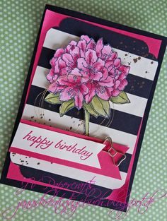 JV Papercrafts: Stampin up birthday card in watermelon wonder and basic black