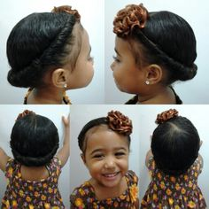 Mixed girls hairstyles. Hair twist into a headband