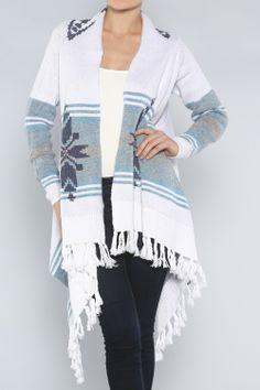 Winter Fringe Cardigan #wholesale #fall #cardigan #sweater #pants #jacket #sweater #fashion #clothing #ootd #wiwt #shopitrightnow #graphics #patterns #holiday #fringe
